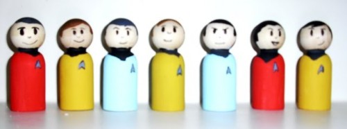 Awesome Handmade Wooden Star Trek Figures
