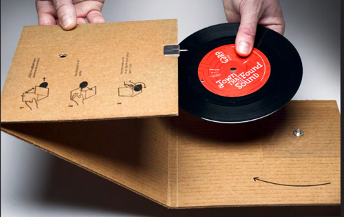 cardboard record player Cardboard Record Sleeve that Actually Plays the Record