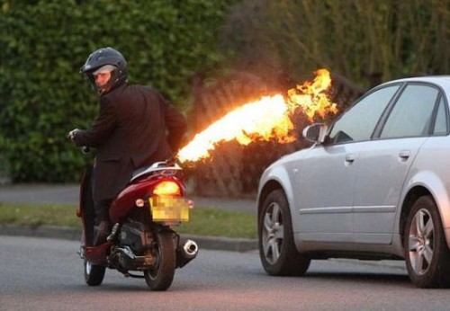 Scooter with Flamethrowing Exhaust Hits the Streets