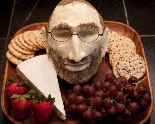 steve jobs cheeseplate Apple Head Cheese Steve Jobs Head Made of Cheese