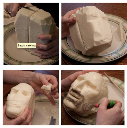 steve jobs making of cheese 498x500 Apple Head Cheese Steve Jobs Head Made