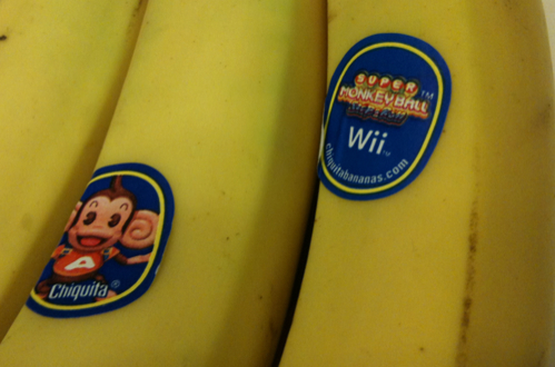 Nintendo Advertising Super Monkey Ball for Wii on Chiquita Bananas