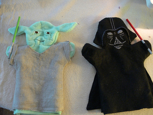 Handmade Yoda and Darth Vader Puppets