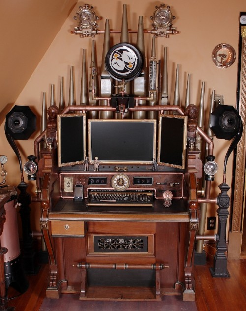 VERY Impressive Pump Organ Steampunk Computer Desk Workstation