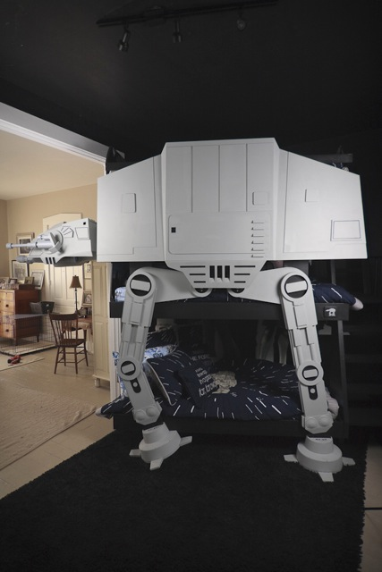Got a Spare 400 Hours?  Make Your Kid a Tri-Level Star Wars Imperial Walker Bed