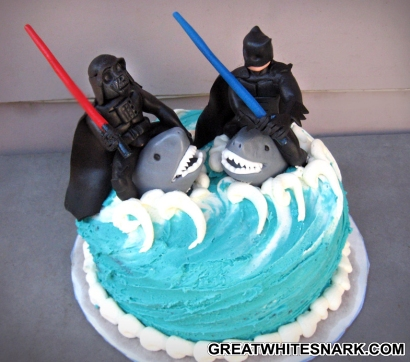 Batman Lightsaber Fighting Darth Vader on Sharks Cake