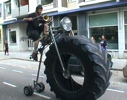 Bicycle with a Monster Truck Wheel