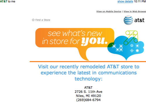 FAIL! AT&T Invites Customers Nationwide to Niles, MI for 25% Off