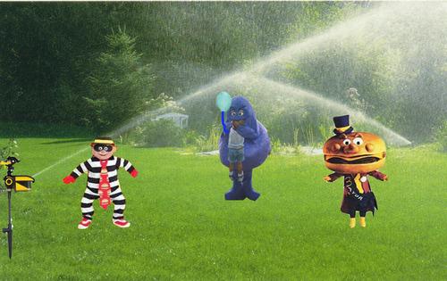 grimace sprinkler Scarecrow Motion Activated Sprinkler Keeps Pests Away, Internet Meme Alive