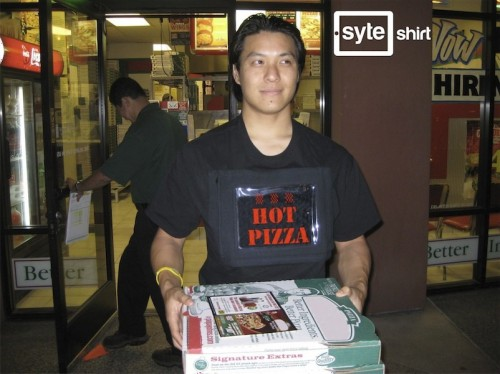 ipad pizza 500x374 Be a Human Billboard: iPad Holding Shirt