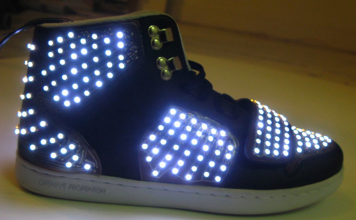 Motion Sensing Animated LED Sneakers from Step Up 3-D