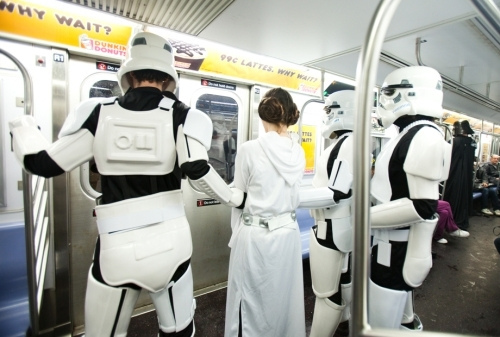 Star Wars Scene Reenacted on NYC Subway