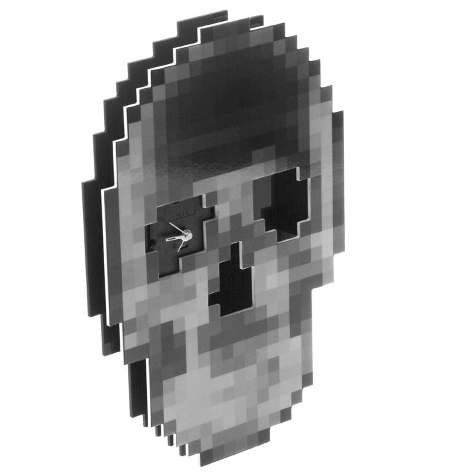 Pixelated Skull Clock