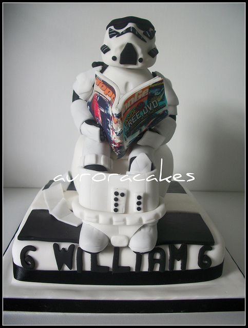 storm trooper toilet break cake Best. Cake. Ever. Stormtrooper on the Toilet Cake