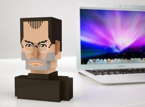 Steve Jobs Head in Pixel Art 3D on your Desk