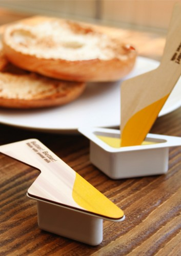 Single Serving Butter Package with Integrated Knife