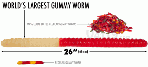 worlds largest gummy worm equivalency infographic 500x227 Pinboard