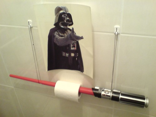 The Empire Strikes Crack: Lightsaber Toilet Paper Holder