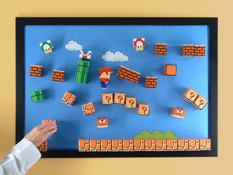 super mario papercraft board 3D Super Mario Papercraft Magnet Board