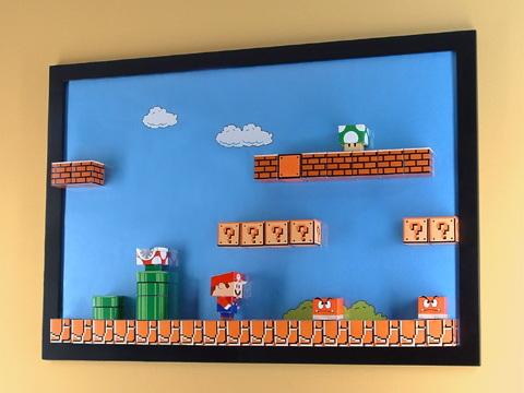 3D Super Mario Papercraft Magnet Board