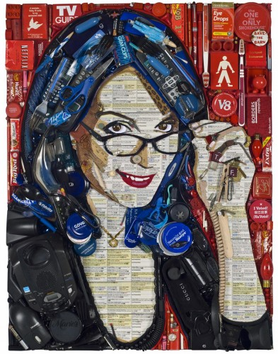 Tina Fey Mosaic Portrait Made of Gadgets
