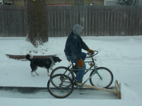 Bicycle Mounted Snowplow