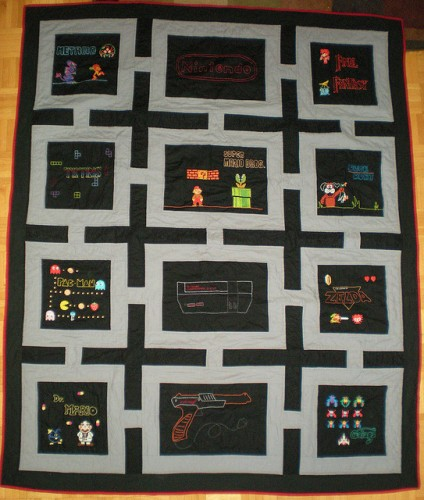 nintendo quilt 424x500 7 Cool Nintendo Bedding Items