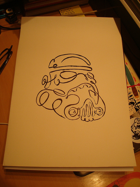 one line stormtrooper One Line Drawing Stormtrooper