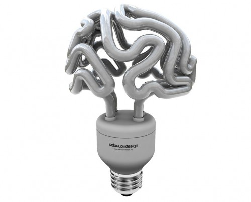 brain lamp 500x403 Brain Shaped CFL Bulb