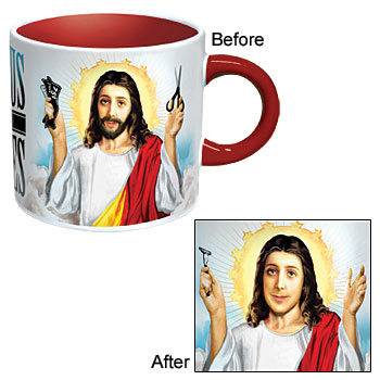 Jesus Shaves Heat Changing Coffee Mug