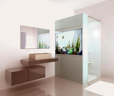 Shower with Built in Aquarium