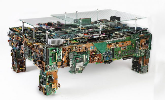 Binary Low Table is Made of Old Electronics
