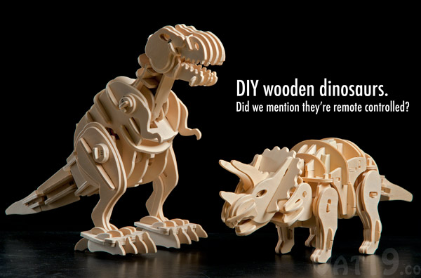 DIY Remote Controlled Wooden Dinosaurs
