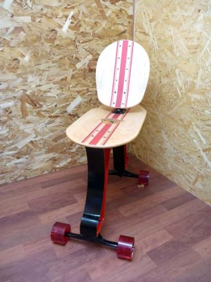 Skateboard Chair Rolls On