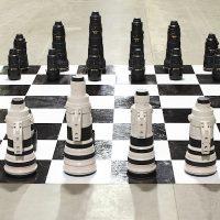 Canon vs. Nikon Camera Lenses Chess Set