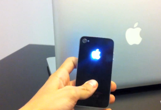 Modded iPhone 4 with Backlit Glowing Apple Logo on Back