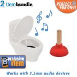 USB Toilet Bowl Speaker and Plunger iPod Stand