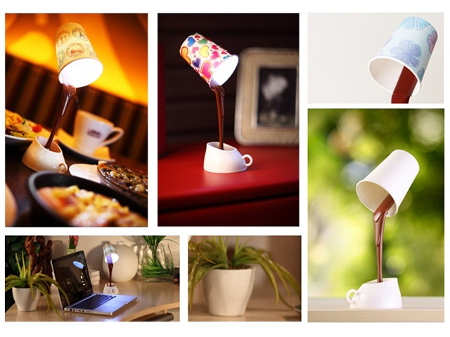 hot chocolate lamp montage Hot Chocolate Pouring into a Mug USB Desk Lamp
