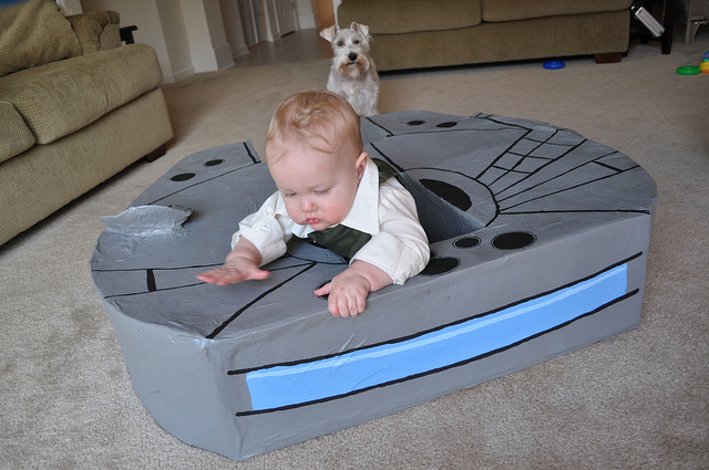 back kid falcon Does a 9 Month Old Need their Own Millennium Falcon? Yes.