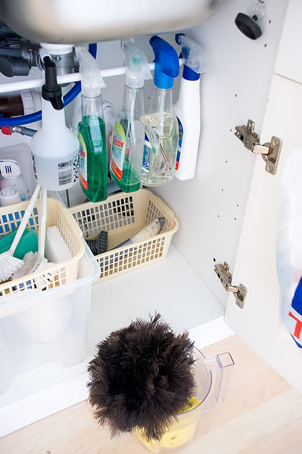 undersink spray bottles Easy Under Sink Spray Bottle Storage Solution