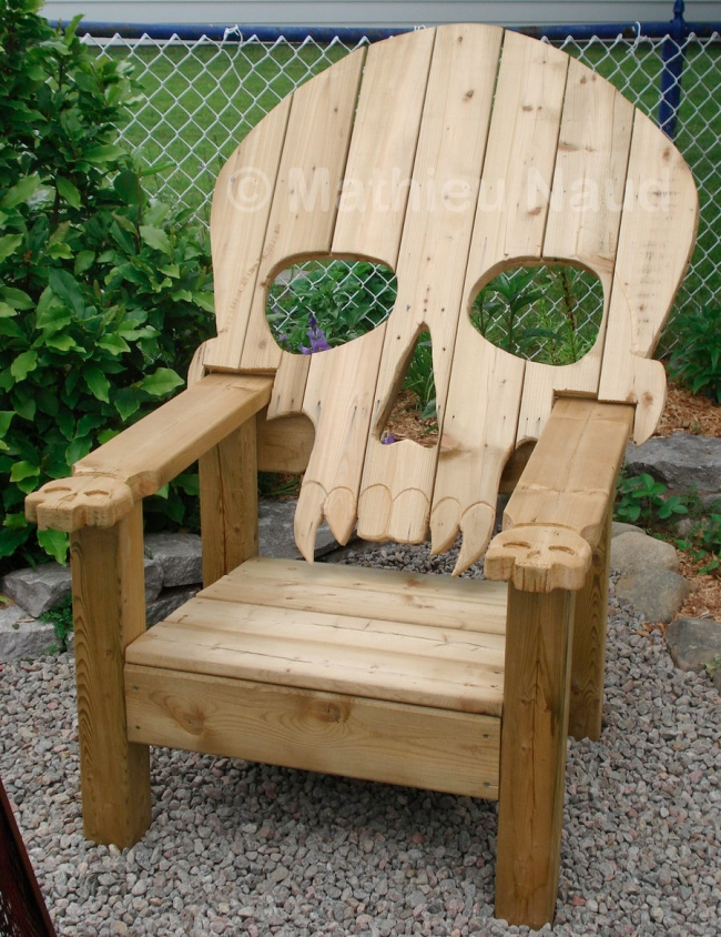 Badass Adirondack Skull Chair on black outdoor rocking chair cushions