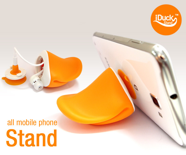 iDuck Duckbill Shaped Phone Stand and Headphone Cord Holder