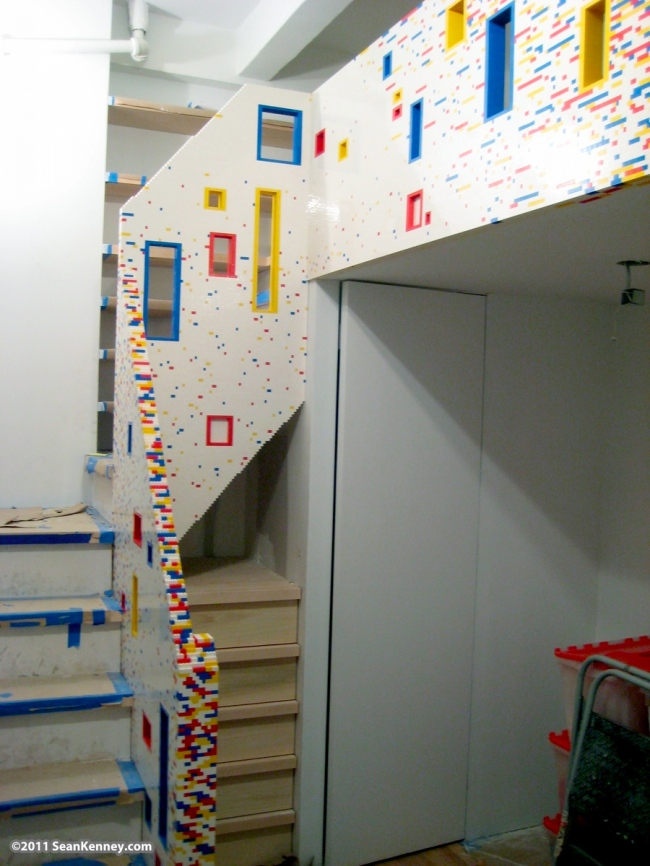 lego staircase Incredible Manhattan Staircase and Loft Covered in 20,000 Lego Bricks