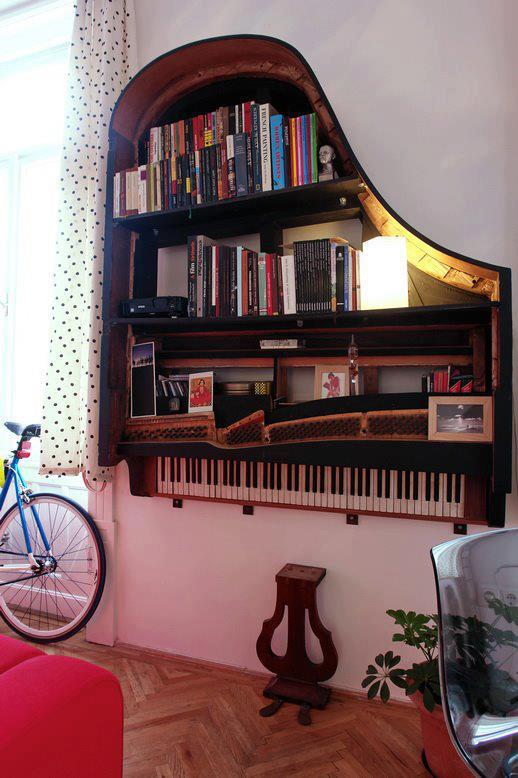 piano bookshelf Hanging an Old Piano as a Bookshelf