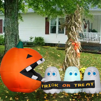 runaway ghost scene Inflatable Pac Man Halloween Decoration