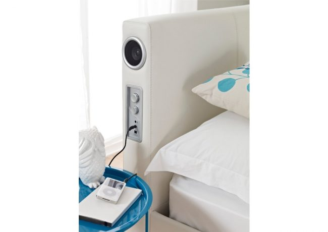Bed with Speakers in the Headboard