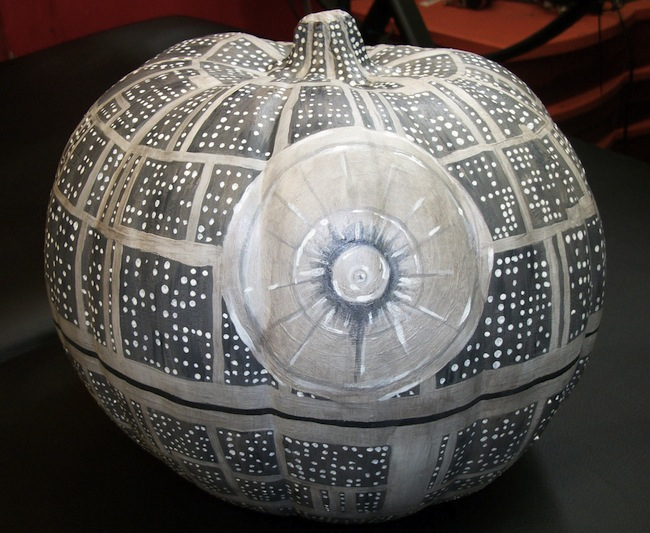 death star pumpkin Glow in the Dark Death Star Pumpkin