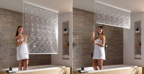 pull down shower in use Pull Down Ceiling Mounted Shower Curtains