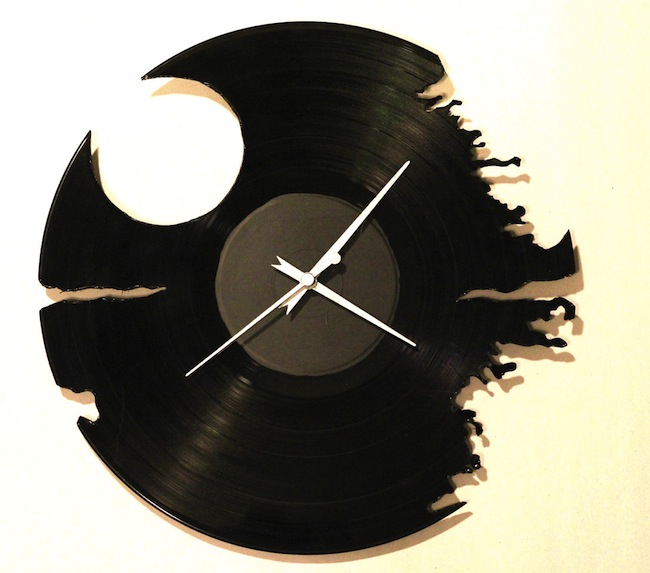 Recycled Record Death Star Clock