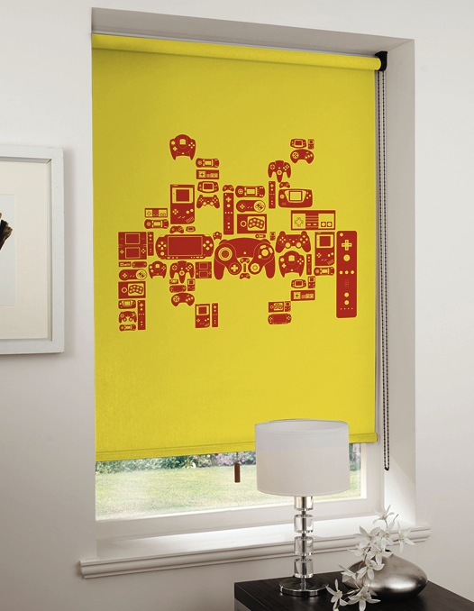 space invaders blinds Video Game Roller Shades